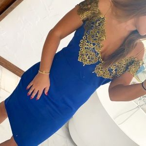 Blue & gold embellished dress